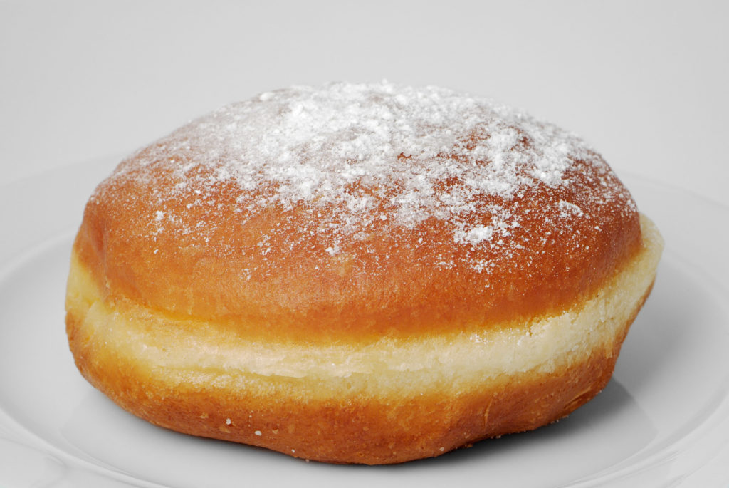 Jam Doughnut against a White Background